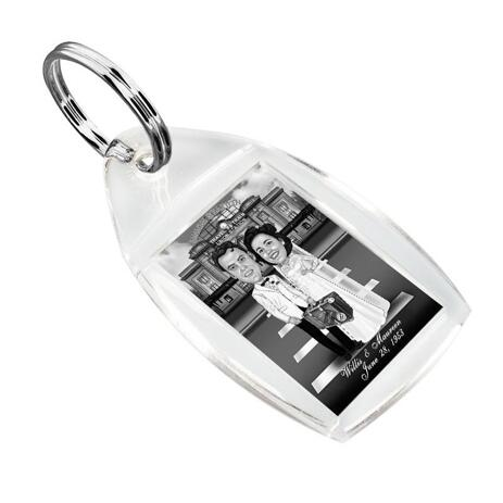 Bride and Groom Cartoon from Photos on Keyrings - example