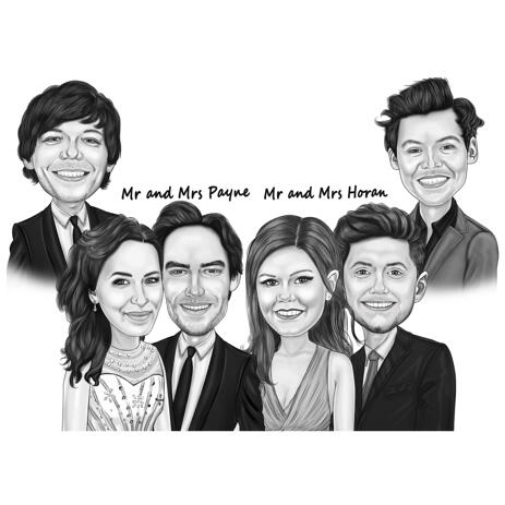 Black and White Digital Style Famous Celebrity Group Caricature from Photos - example
