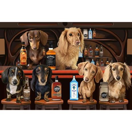 Групповая карикатура собак в баре с фотографии - example