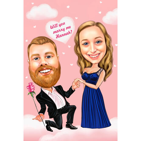Proposal Couple Caricature: Will your marry me? - example