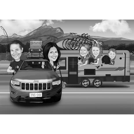 Family Caricature with Motorhome in Black and White Digital Style from Photos - example