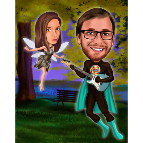 Custom Couple Caricature as Any Fictional Characters with Background - example