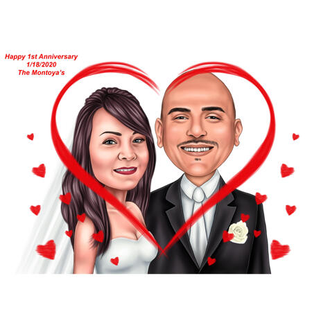 Happy 1 Year Anniversary Wedding Color Style Caricature from Photos - example
