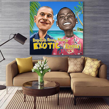 Friends Caricature in Colored Style with Exotic Background Printed on Canvas - example