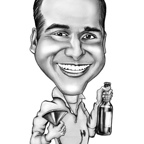 Custom Monochrome Caricature Drawing - example