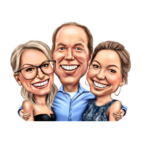 Three Persons Group Caricature in Colored Digital Style - example