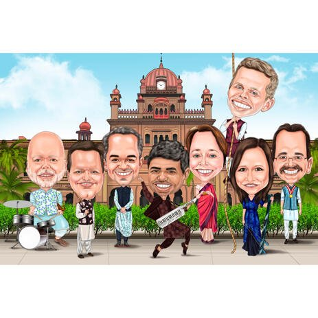 Group People in Indian Bollywood Attire Exaggerated Caricature in Colored Style from Photos - example