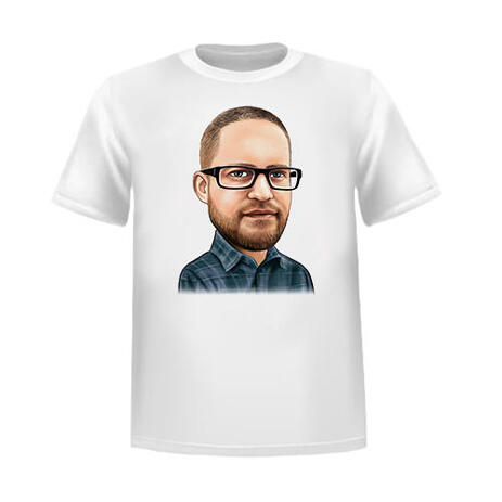 Man Colored Caricature from Photos on T-shirt Print - example