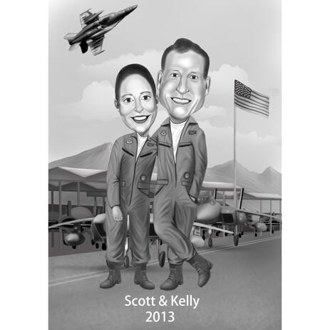 Birthday Gift Idea for Coworker - Black and White Style Caricature with Custom Background - example