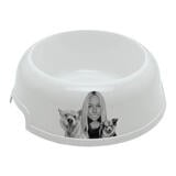 Owner with Pets Caricature on Pet Bowl