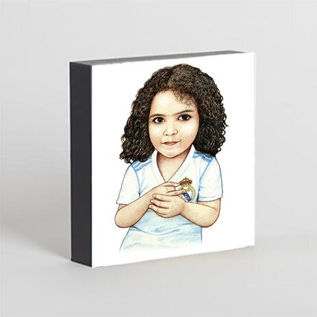Kid Caricature Drawing Printed as Photo Block - example