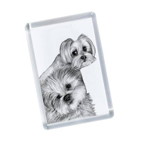 Dogs Portrait on Printed Magnetes - example
