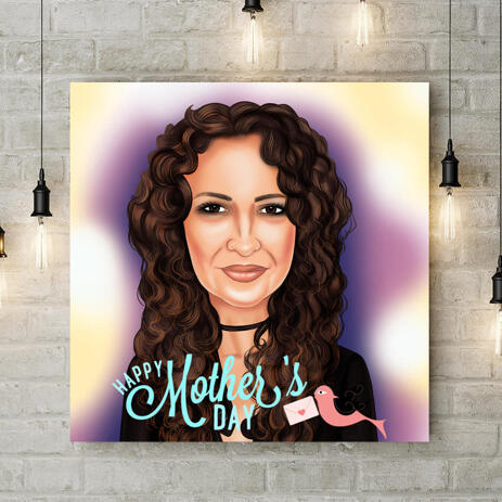 Custom Print on Canvas: Photo Drawing in Cartoon Style for Mother's Day Gift - example
