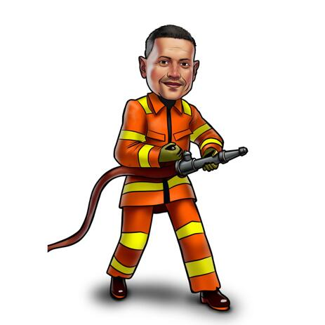 Fireman Caricature from Photos in Colored Style - example