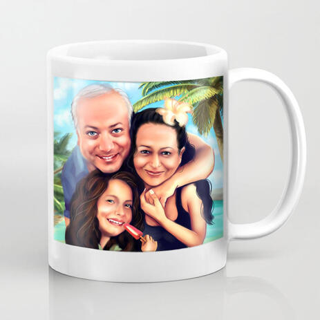Caricature Mug - Family Cartoon Portrait with Custom Background from Photos for Father Day Gift - example