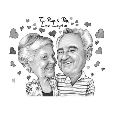 Parents Couple Caricature for Anniversary Gift - example
