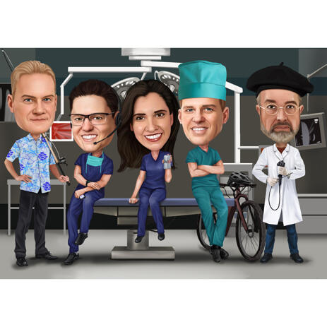 Custom Group Medical Full Body Colored Caricature for Grey's Anatomy Fans - example