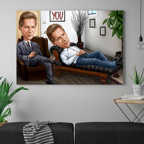 Custom Caricature for Business on Canvas - example