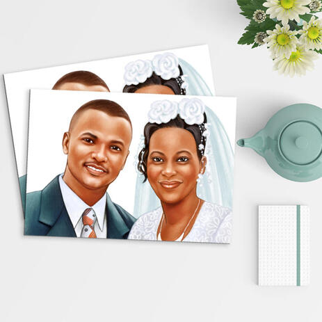 Pencils Portrait of Bride and Groom as Poster Print - example