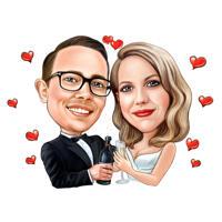 Romantisk par karikatur med champagne hånd trukket fra fotos i farve stil