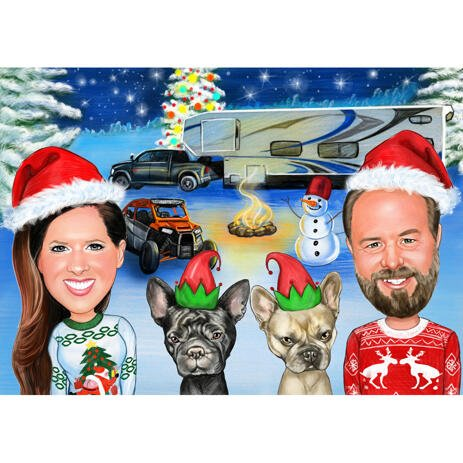 Couple with Pets Christmas Caricature with Colored Background - example