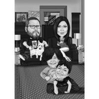 Famiglia personalizzata con disegni di cartoni animati per animali domestici in stile bianco e nero per il giorno del ringraziamento