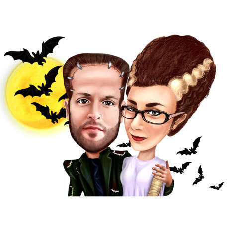 Couple Halloween Caricature in Exaggerated Style from Photos - example