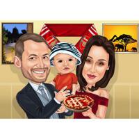 Coppia con la caricatura della famiglia di bambini dalle foto al Ringraziamento