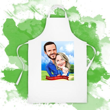 Custom Print on Coking Apron: Digital Cartoon Drawing of Family - example