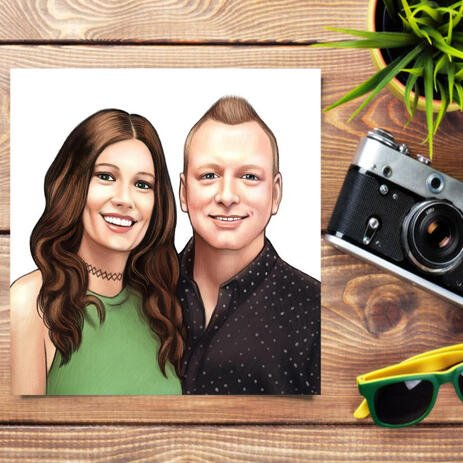 Realistic Couple Portrait Hand Drawn in Colored Style from Photos Printed on Poster - example