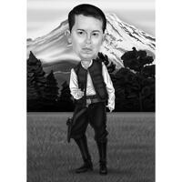 Cowboy Karikaturgave til mand i sort / hvid stil på brugerdefineret baggrund
