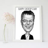 Photo Print: Father's Day Caricature Drawing with Pencils