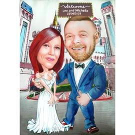 Lustige Braut-und Bräutigam-Karikatur auf farbigem Hintergrund