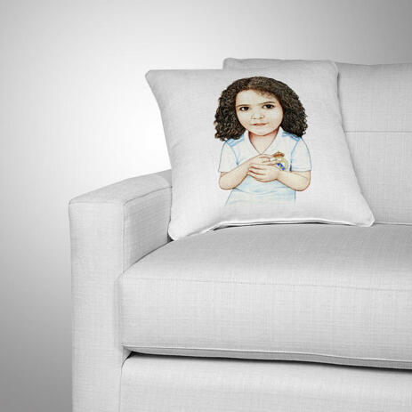 Kid Caricature Drawing Printed as Pillow - example