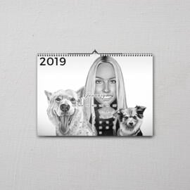 Owner with Pets Caricature on Calendar