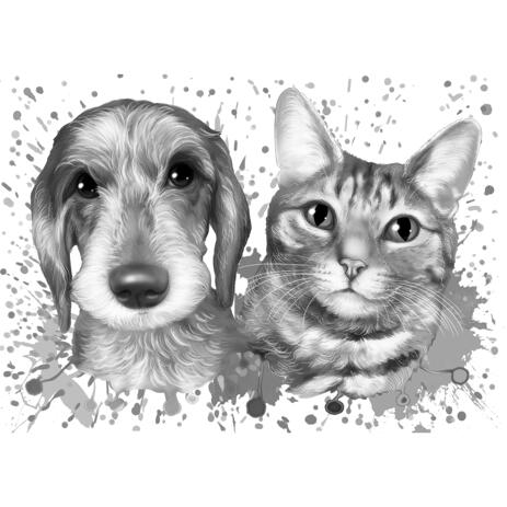 Dog and Cat Cartoon Portrait in Grayscale Watercolor Style from Photos - example