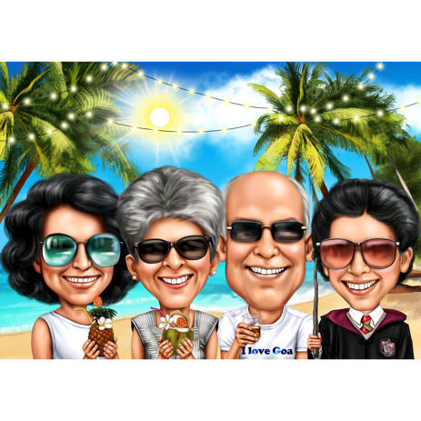 Group Vacation Caricature from Photos in Colored Style - example