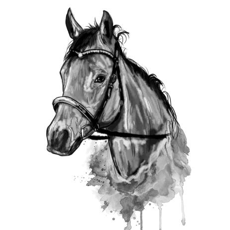 Watercolor Graphite Horse Portrait from Photos - example