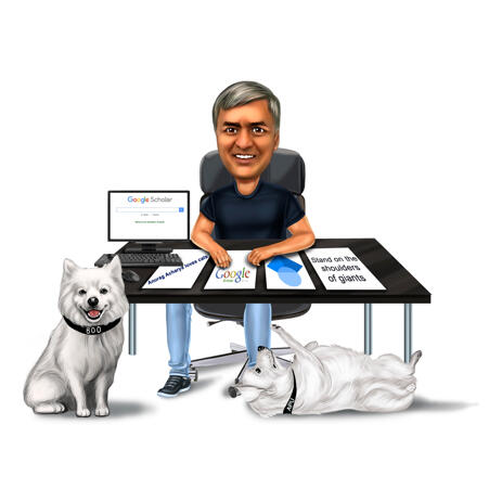 Person with White Pomeranian Dogs Caricature in Full Body Colored Style from Photos - example