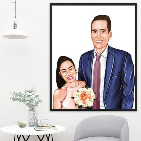 Bride and Groom Caricature as Wedding Gift on Poster - example