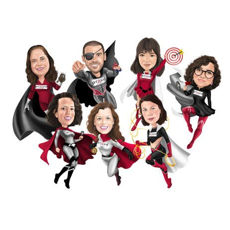 Premium Superhero Company Mascot Caricature from Photos - example