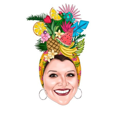 Woman in Fruit Hat Custom Caricature in Color Style as Cookbook Logo - example