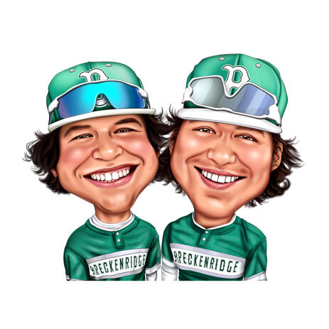 Two Persons Sport Caricature in Exaggerated Color Style from Photos - example