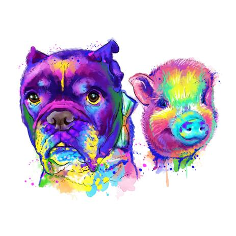 Two Mixed Pets Cartoonish Portrait in Watercolor Style from Photo - example