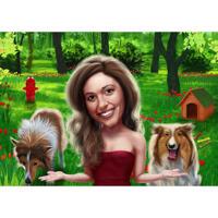 Besitzer mit Collie-Karikatur im farbigen Stil auf kundenspezifischem Hintergrund