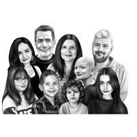 Célébration commémorative de groupe familial personnalisé de cadeau de vie dans un style noir et blanc