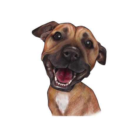 Funny Boxer Dog Caricature Portrait in Color Style from Photos - example