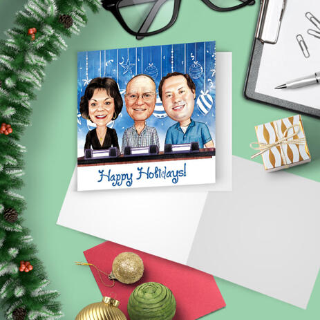 Head and Shoulders Colleagues Group Christmas Holiday Caricature Set of 10 Cards Gift in Color Style - example
