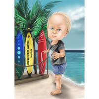 Ganzkörper-Urlaubs-Kind-Karikatur im Farbstil von Foto