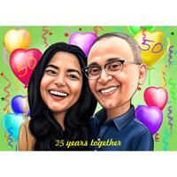 Aangepaste paar karikatuur verjaardag kunst cadeau met ballonnen achtergrond